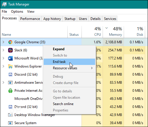 task manager end Chrome