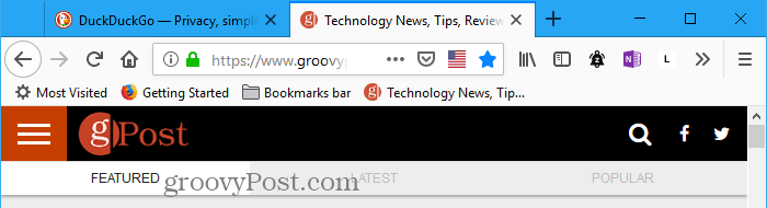 Square tabs in Firefox, before applying Material Design UI