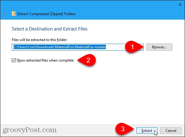 Windows 10 Extract dialog