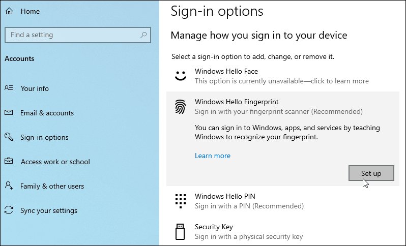 Windows Hello Fingerprint