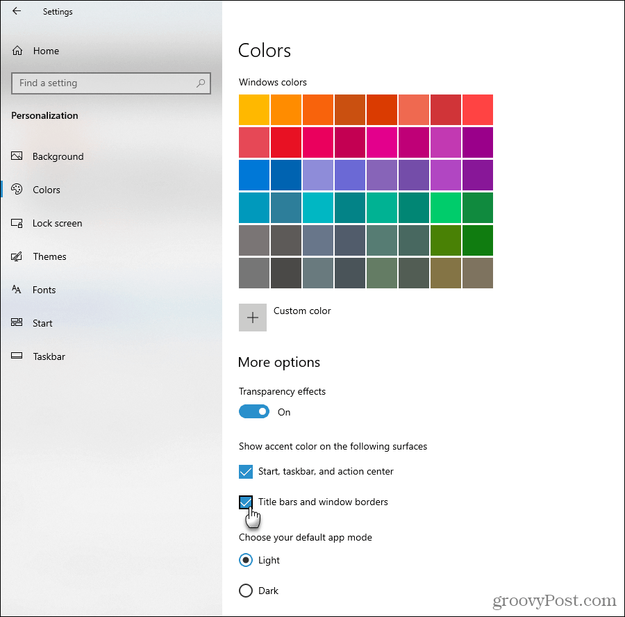 Show accent color options in Windows 10