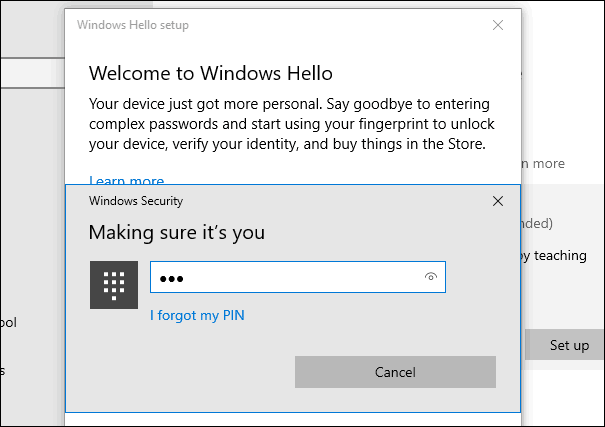 2 PIN Windows Hello Fingerprint