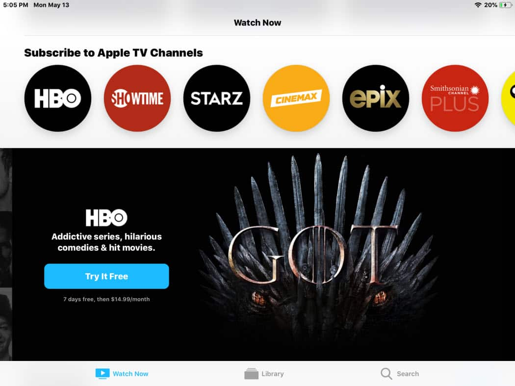 New Apple TV App iPad Channel Subscriptions