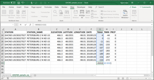 Using MAX function in Excel
