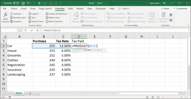 using the product function in excel