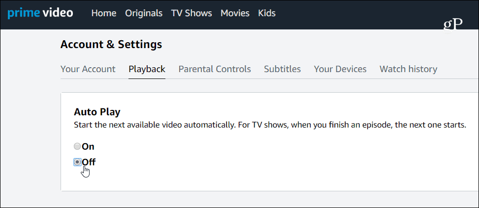 Turn off Prime Video Autoplay