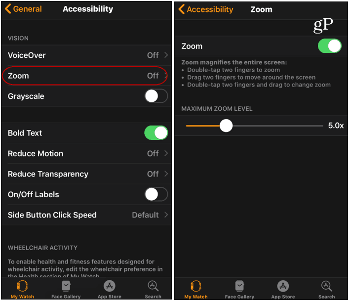 Turn on the Zoom feature Apple Watch