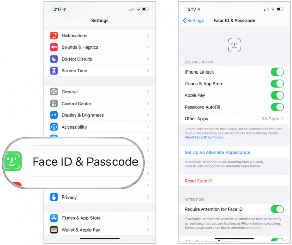 Face ID choices