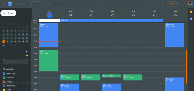 googlecalendar darkly theme