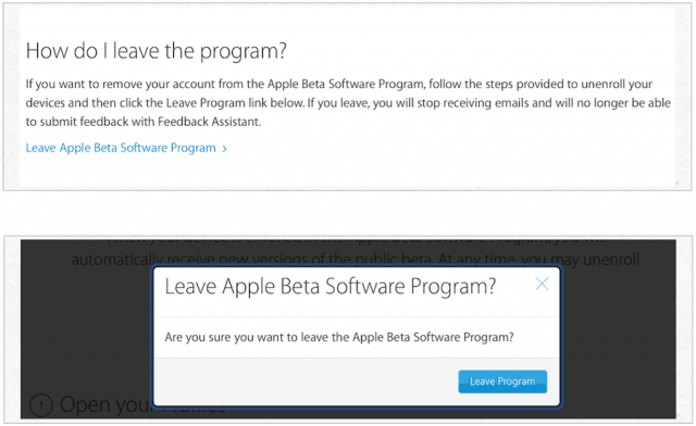 leave apple beta program