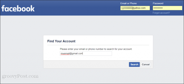 resetting facebook password