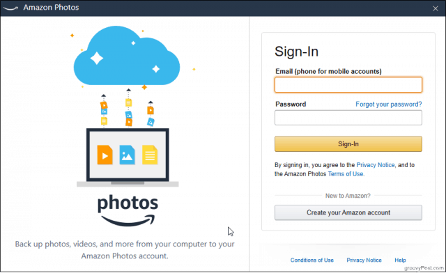 Sign in to the Amazon Photos Desktop app