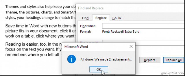 Two Font Replacements Made in Word