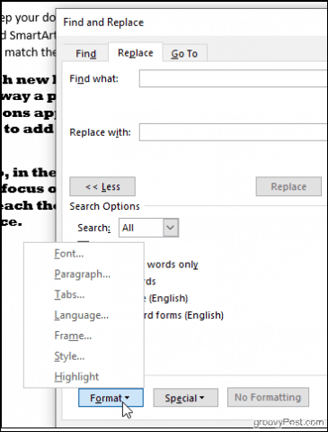 Click Find Format in Word