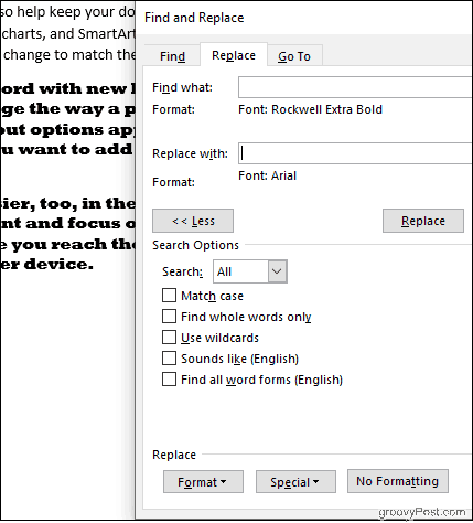 Replace All Rockwell Font with Arial in Word