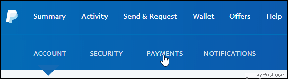 PayPal Click Payments tab