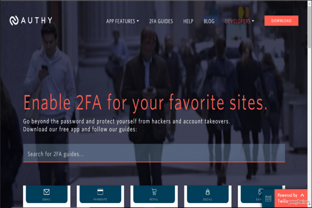 Authy website main page