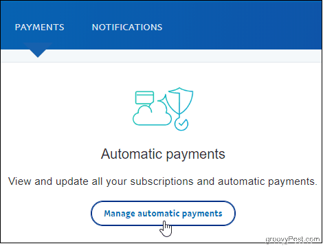 PayPal Click Manage Auto Payments