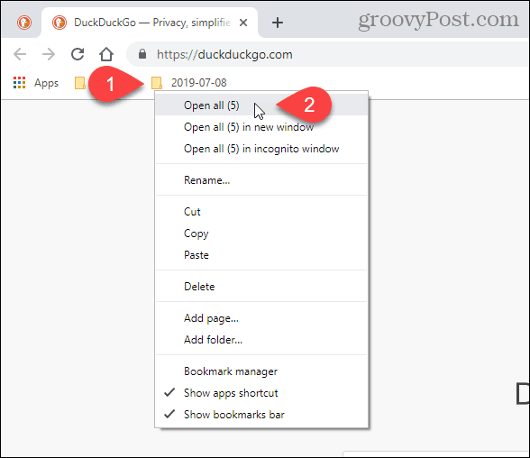 Select Open all (X) in Chrome