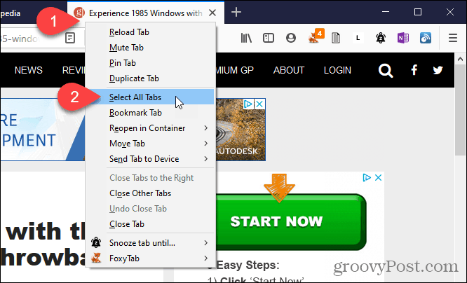 Choose Select All Tabs in Firefox