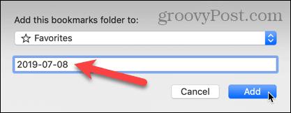 Add this bookmarks folder dialog in Safari