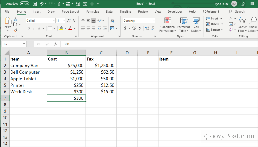 using control-d in excel