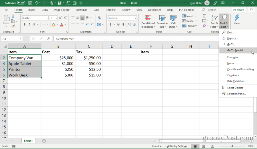 selecting go to special in excel