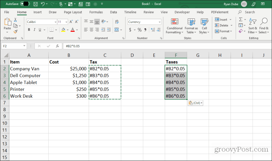 pasting edited formulas in excel