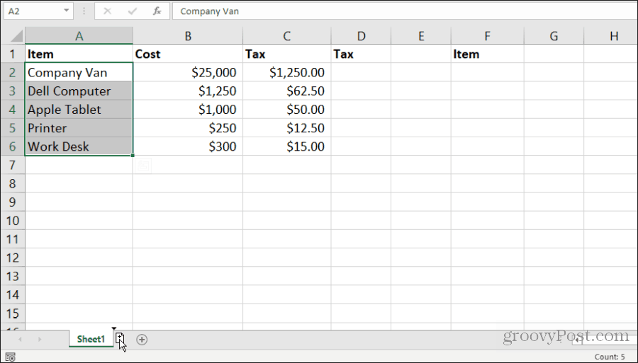 copying a sheet in excel