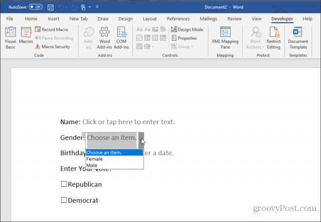 testing an embedded form in word
