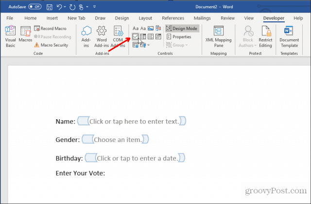 inserting a checkbox in word