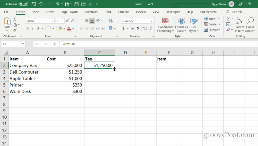 filling cells down in excel