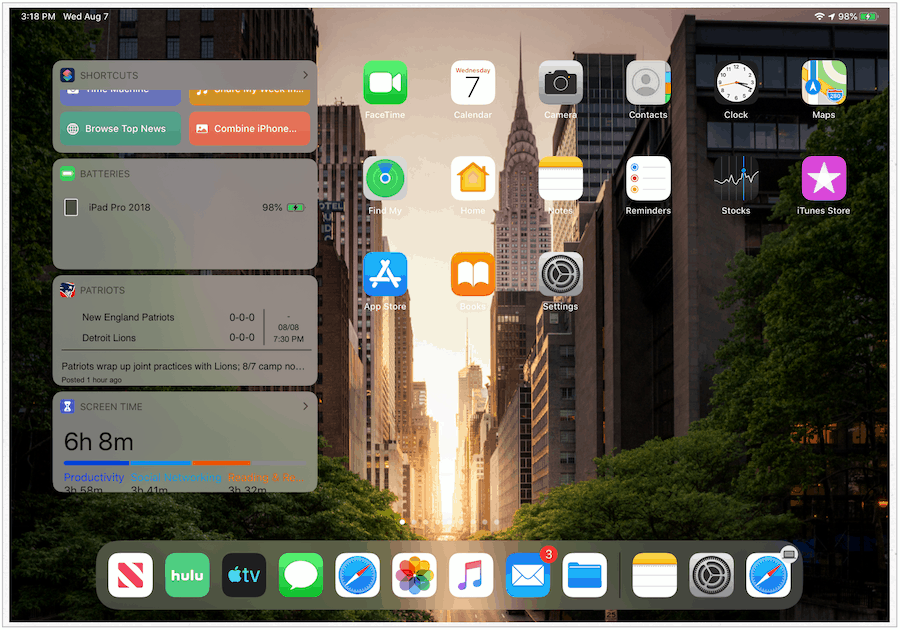 iPadOS pinned