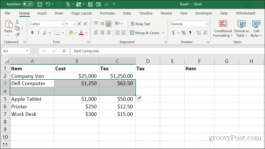 insert blank cells in excel