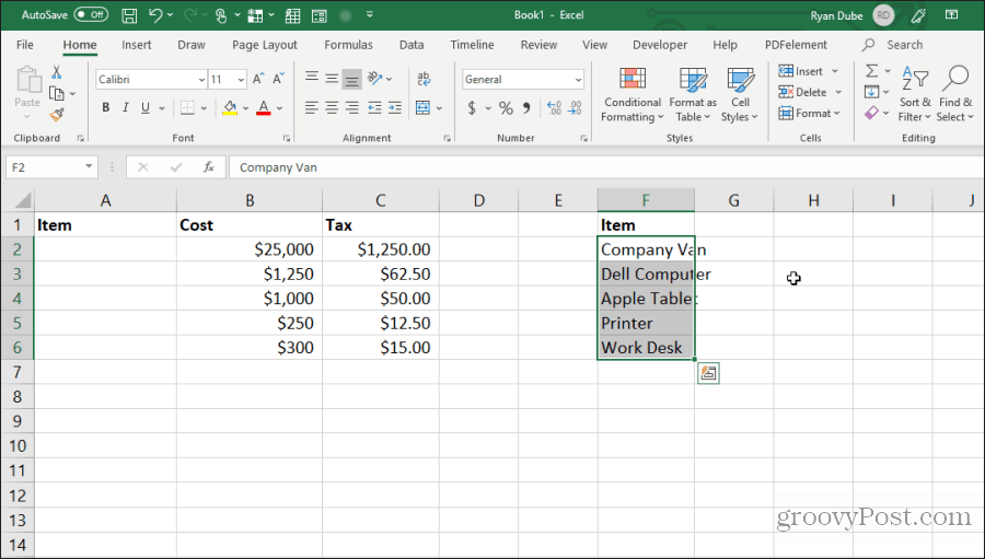 moving cells in excel