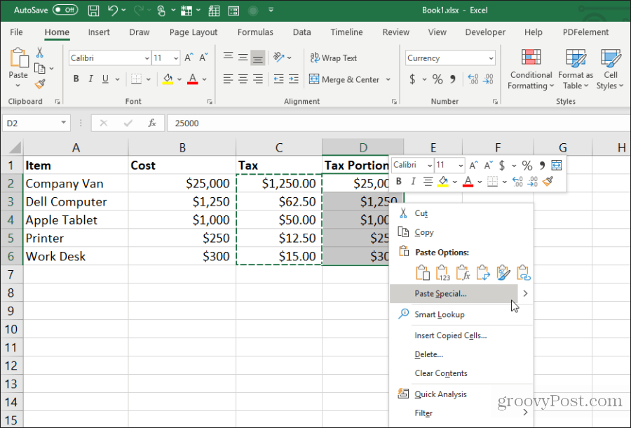 paste special in Excel