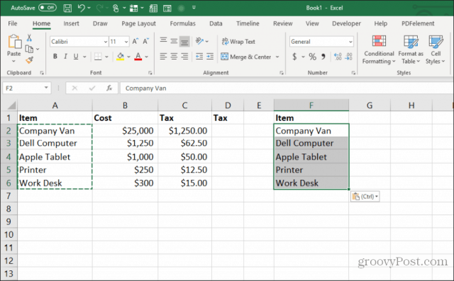 pasting column widths in excel