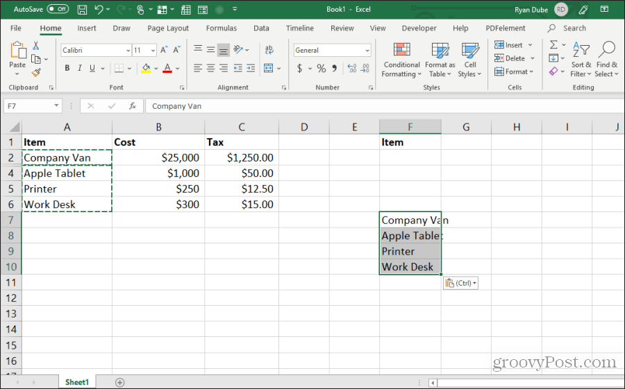 pasting visible cells in excel