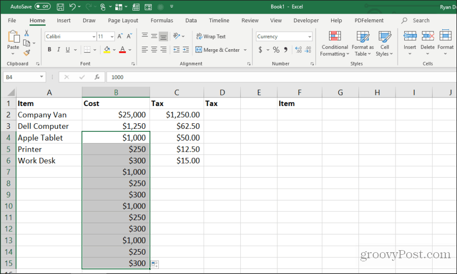 repeat fill in excel