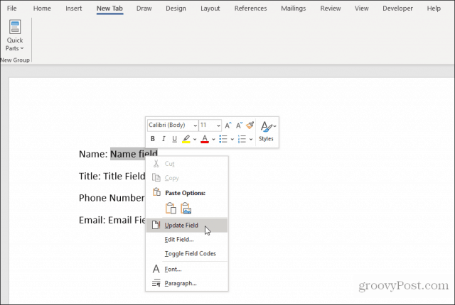 using custom fields in word