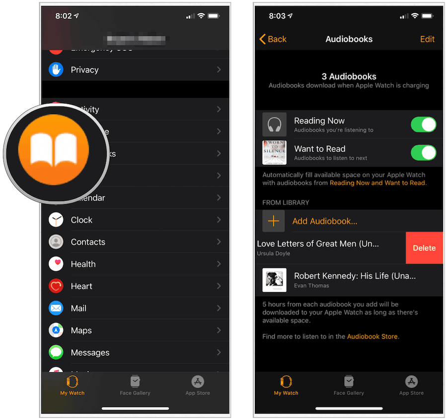 Apple Watch audiobooks