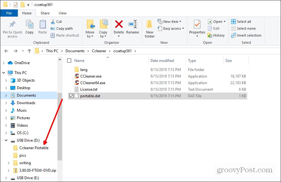 copying ccleaner portable files to usb