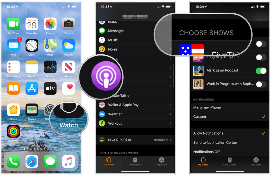 choose podcasts on Apple Watch
