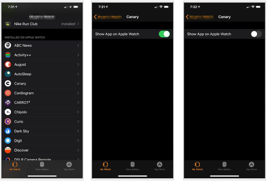 Delete Apple Watch app on iPhone