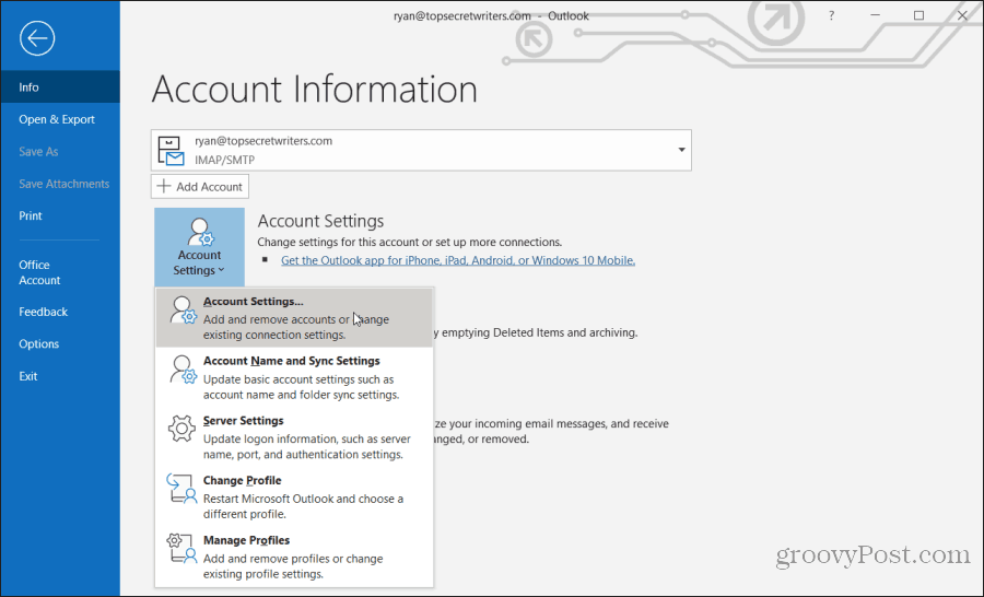 choosing account settings in Outlook