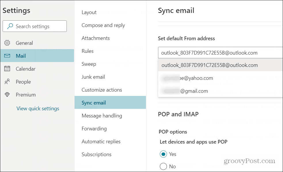 set default send email