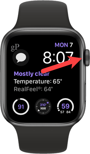 Press the digital crown on your Apple Watch