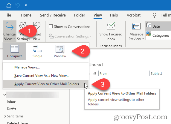 Change the folder view for a folder in an Exchange account