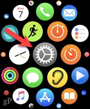 Tap Settings in the grid view on your Apple Watch