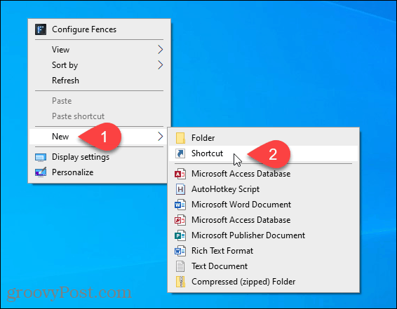 Create New Shortcut on the Windows Desktop